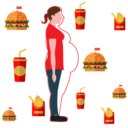 Figures of thin woman in a thick body. Weight loss concept. Vector illustration Illustration