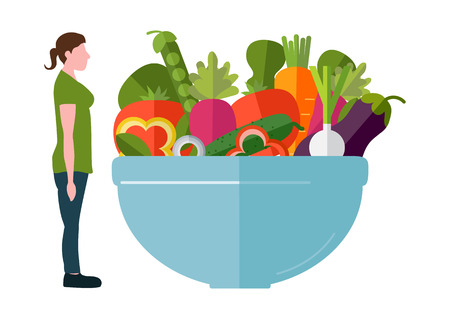 Sportswear thin woman and a fresh salad. The concept of a healthy lifestyle and losing weight. Vector