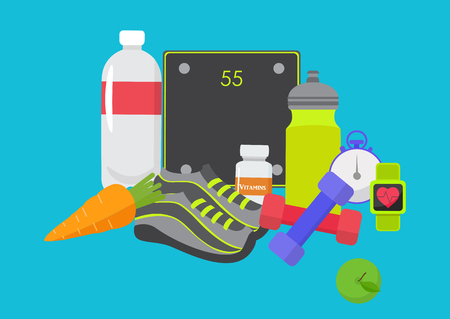Healthy lifestyle design. Vector illustration for diet and nutrition, weight loss, health and good habits Illustration