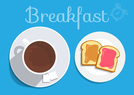 plato del buen comer: El desayuno en la mesa, buen concepto de la mañana. Vector