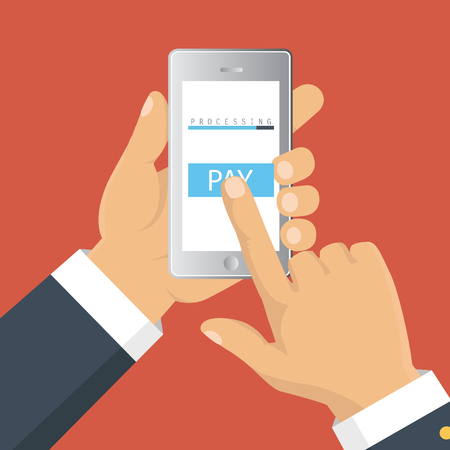 smartphone in hand: Vector illustration. Mobile payment concept. Hand holding a phone. Smartphone wireless money transfer. Flat design. Illustration