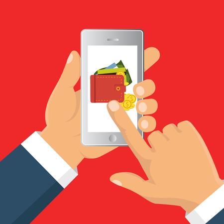 Platte vectorillustratie Platte cartoon-stijl. Verzend geld via smartphone. Concept voor mobiel bankieren en online betalen.