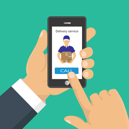 Vector illustration. Hand holding a phone, calling in service delivery. Concept of free, fast delivery, shipping.