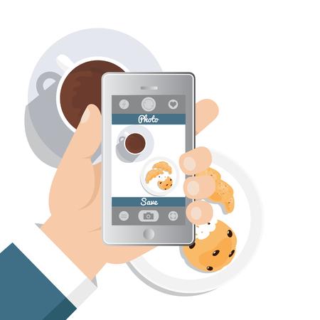 Hand die beeldfoto van voedsel in restaurant of koffie met smartphone neemt. Selfie neergeschoten. Platte vectorillustratie Stock Illustratie