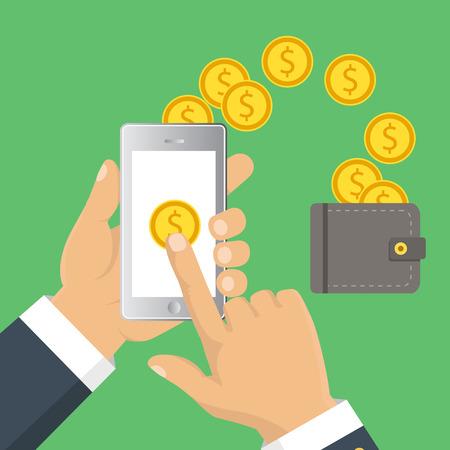 Concepto para la banca móvil y pagos en línea. Vector ilustración plana. estilo plano de dibujos animados. Enviar dinero a través de teléfonos inteligentes