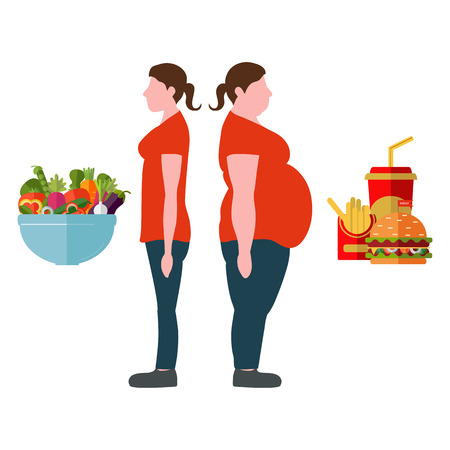 slim woman: Figures of women thick and thin. A plate with vegetables and fast food. Weight loss concept. Vector illustration Illustration