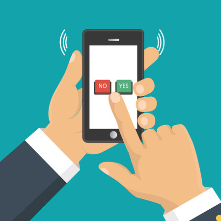 right choice: Hand, finger pressing buttons no or yes on a mobile screen, app. Vector illustration. The concept of choice, the right choice and a wrong decision.
