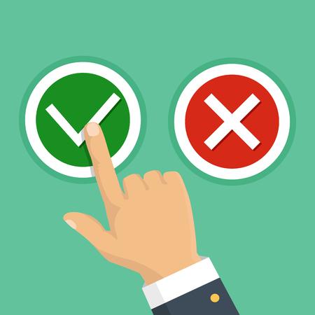 Hand, vinger op knoppen te drukken nee of ja. Vector illustratie. Het concept van de keuze, de juiste keuze en een verkeerde beslissing.