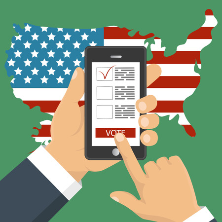 Flat design style. Vector illustration. Hand holding smartphone with voting app on the screen. Concept of election. Illustration