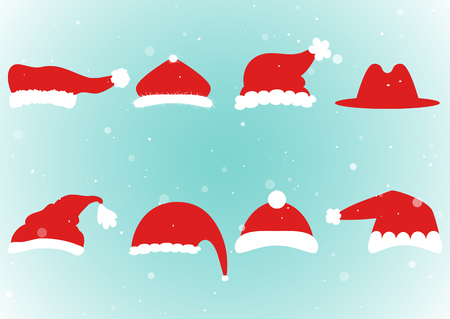 Santa head hat vector. Santa Claus red hat silhouette isolated on background.