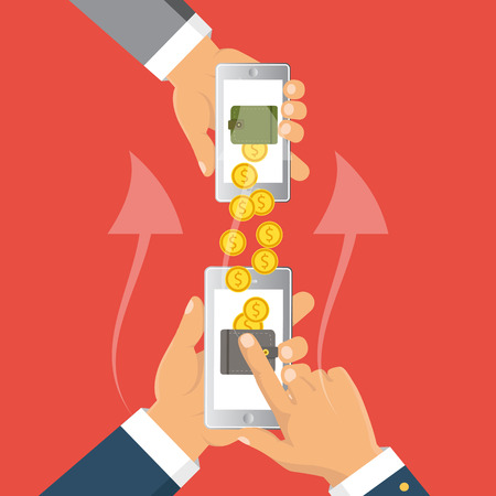 receiving: Payments methods. Flat vector illustration. People sending and receiving money wireless with mobile phones.