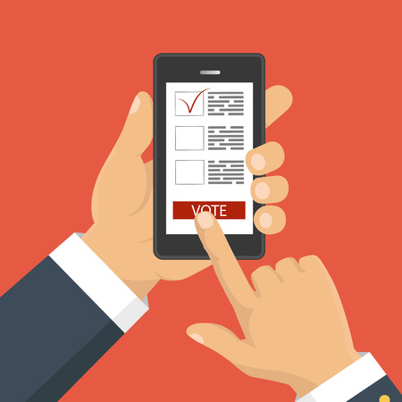 voting: Flat design style. Vector illustration. Hand holding smartphone with voting app on the screen. Concept of election. Illustration