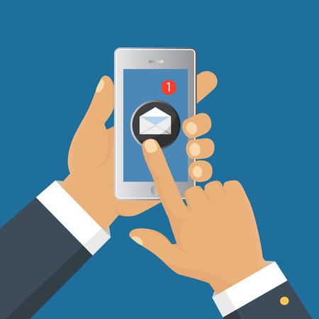 モバイル メッセンジャーのチャット、メッセージを送信するスマート フォンと手。等尺性フラット デザイン、ベクトル イラスト 写真素材 - 67718739