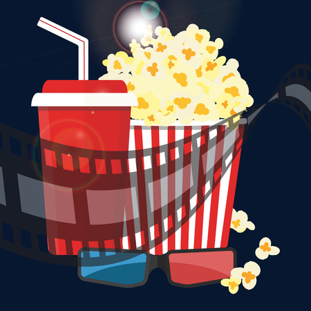 Popcorn and drink. Film strip border. Cinema movie night icon in flat design style. Bright background. Vector illustration Illustration