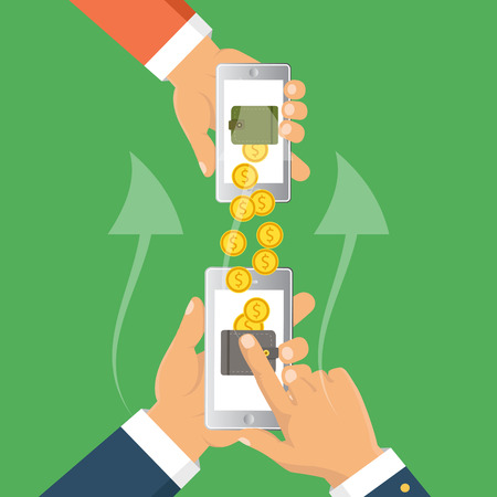 Payments methods. Flat vector illustration. People sending and receiving money wireless with mobile phones.