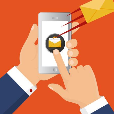 Flat vector illustration, concept for email. Mobile app - email marketing
