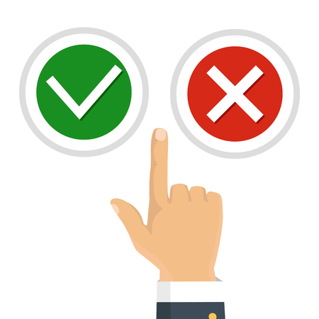 right choice: Hand, finger pressing buttons no or yes. Vector illustration. The concept of choice, the right choice and a wrong decision. Illustration