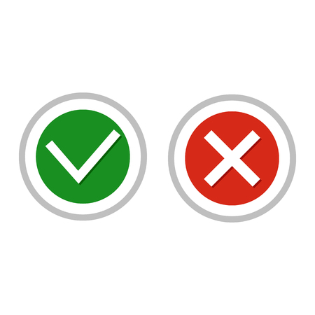 right choice: Vector illustration. The concept of choice, the right choice and a wrong decision. Buttons no or yes. Illustration