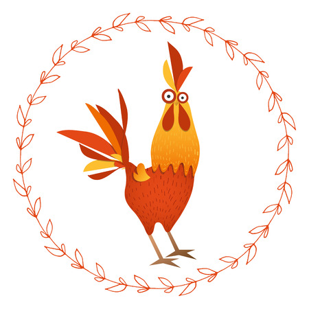 Cartoon vector illustration. Red Rooster, symbol of 2017 year according to the Chinese calendar. The year of rooster.