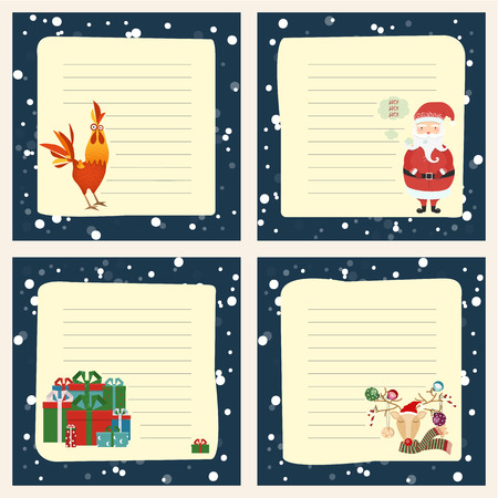 Holiday themed patterns. Merry Christmas greeting card, santa, deer, Xmas decoration, retro designs. Vector. Illustration