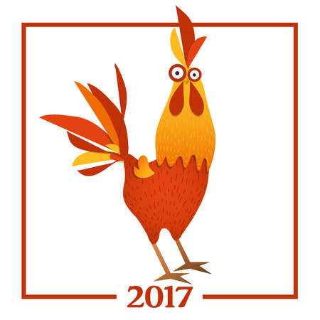 according: Cartoon vector illustration. Red Rooster, symbol of 2017 year according to the Chinese calendar. The year of rooster.