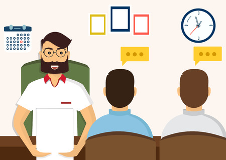 interviewed: Vector illustration, flat cartoon style. Business human resources. HR recruitment. Interview with the candidate positions. Job interview concept. Illustration