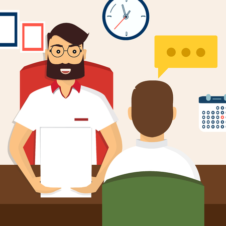 interviewed: Vector illustration, flat cartoon style. Business human resources. HR recruitment. Interview with the candidate positions. Job interview concept