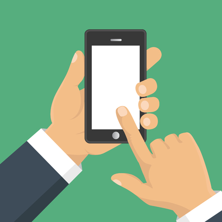 holding smart phone: Vector. Hand holding smart phone. Business concept, flat design