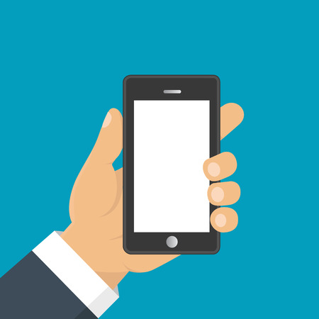 holding smart phone: Hand holding smart phone. Business concept, flat design, vector