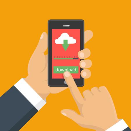 Téléchargement du document, infographie. Design plat Bouton concept de téléchargement de fichier sur l'écran du smartphone. Main tient le smartphone. Banque d'images - 70093323