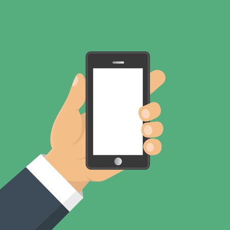 holing: Vector. Hand holding smart phone. Business concept, flat design