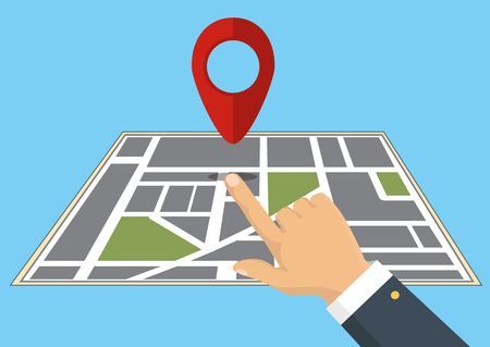 Vector illustration. Map. The concept of navigation, delivery. Hand indicates the location on the map. Illustration