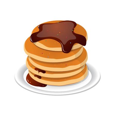 Vector illustration. Fresh tasty hot pancakes with sweet maple syrup. Cartoon icon isolated on background. Vintage restaurant sign. Illustration
