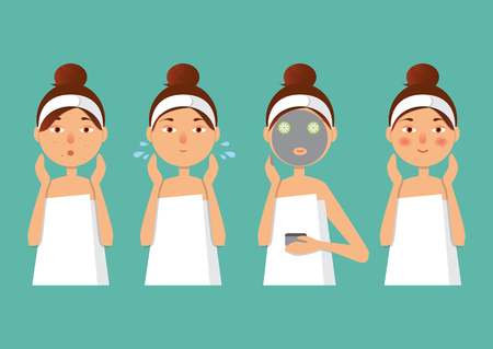 woman washing face: Vector illustration. Beautiful girl inflicts a mask of clay or cream on the face. Beauty, body care concept.