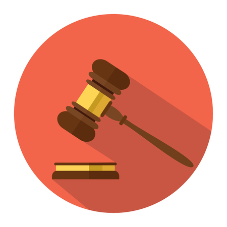 Flat style isolated on background. A wooden judge gavel, hammer of judge or auctioneer and soundboard, vector illustration.