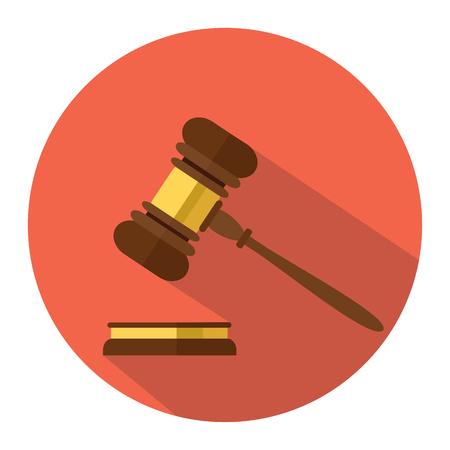 Platte stijl geïsoleerd op achtergrond. Een houten rechterhamer, hamer van rechter of veilingmeester en soundboard, vectorillustratie. Stockfoto - 74040860
