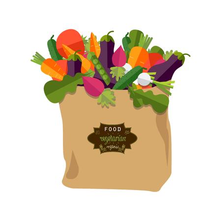 Papieren zak met gezond voedsel, groenten. Gezonde biologische natuurlijke voeding. Boodschappendienst concept. Platte vectorillustratie Stockfoto - 74011190
