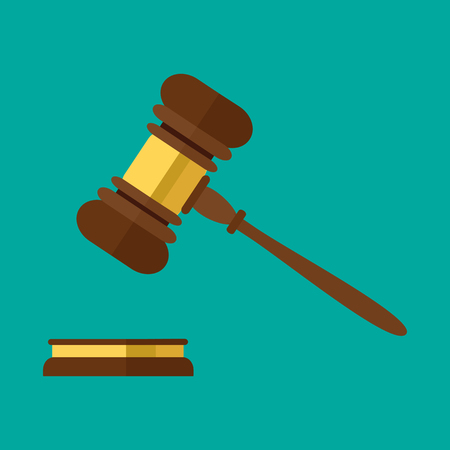 courthouse: Flat style isolated on background. A wooden judge gavel, hammer of judge or auctioneer and soundboard, vector illustration.