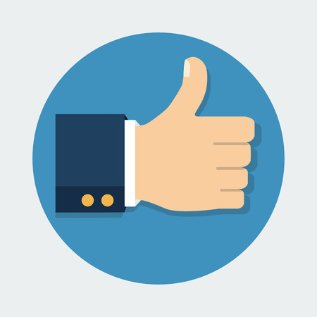 Vector illustration. Thumb Up vector icon. Isolated on a background. Like symbol.