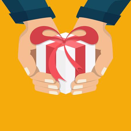 De hand die de doos houdt, cadeau. Platte stijl. Het concept van levering, overwinning, vakantie, verjaardag, verloving, bruiloft. Vector Stock Illustratie