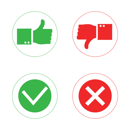 Thumb Up And Thumb Down Symbol Icon Isolated On A Background
