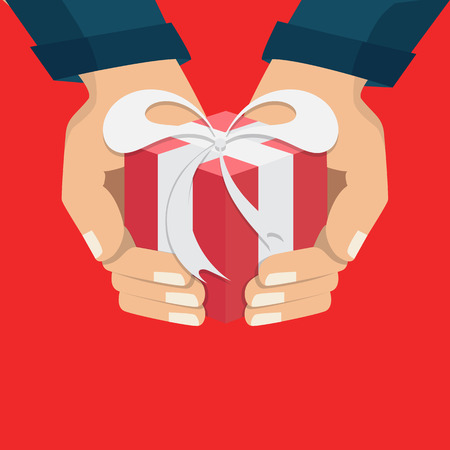 The hand that holds the box, gift. Flat style. The concept of delivery, victory, holiday, birthday, engagement, wedding. Vector Illustration