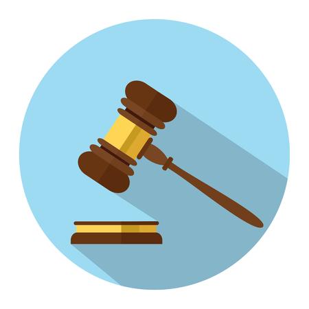 Platte stijl geïsoleerd op achtergrond. Een houten rechterhamer, hamer van rechter of veilingmeester en soundboard, vectorillustratie.