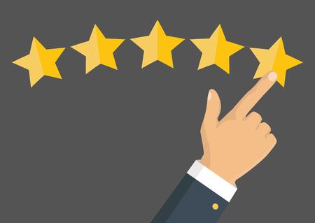 Klantbeoordeling concept. Vector. Rating gouden sterren. Feedback, reputatie en kwaliteitsconcept. Hand wijzen, vinger wijzen naar vijf sterren. Stock Illustratie