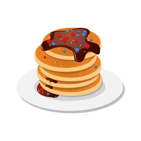 Vector illustration. Fresh tasty hot pancakes with sweet maple syrup. Cartoon icon isolated on background. Vintage restaurant sign. Illustration