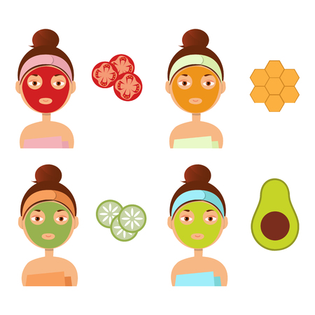 hair mask: Vector illustration. Beautiful girl inflicts a mask of clay or cream on the face. Beauty, body care concept.