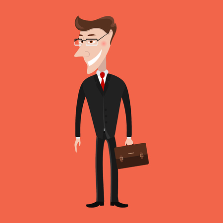 Man in a suit. Businessman with briefcase. Business, success concept. Vector illustration Illustration