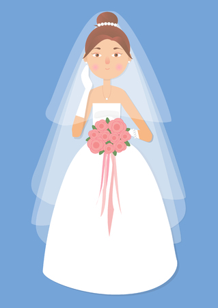 hacer el amor: Vector illustration for greeting card, invitation, banner, flyer. The girl, beautiful woman in wedding dress and the bouquet in her hand.