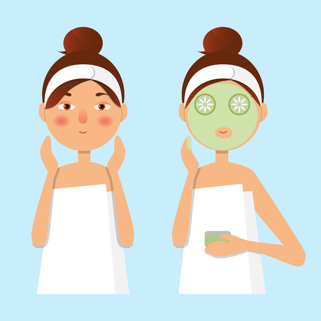 Vector illustration. Beautiful girl inflicts a mask of clay or cream on the face. Beauty, body care concept.