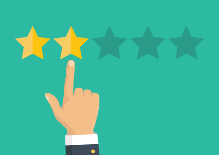 Customer review concept. Vector. Rating golden stars. Feedback, reputation and quality concept. Hand pointing, finger pointing to five star rating. Vector Illustration